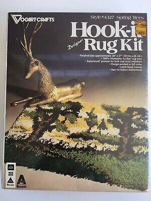 Vintage Hook Rug Kit By Vogart Crafts Spring Trees Pattern New In Box