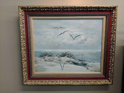 VINTAGE framed signed OIL PAINTING ROCKY SHORE OCEAN sea Sail Boat Large gold