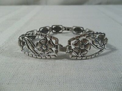 ~Antique Walter Lampl Sterling Silver Daisy Accent Link Bracelet~Beautiful!~