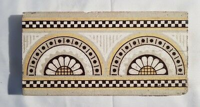half stylized sunflowers aesthetic  VICTORIAN BORDER TILE 6 X 3 INCHES