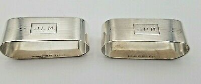 Pair of Deco Design Monogrammed Oval Sterling Silver Napkin Rings #6387