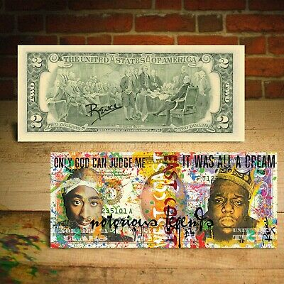 TUPAC SHAKUR & BIGGIE SMALLS Genuine $2 U.S. Bill Pop Art HAND-SIGNED by Rency