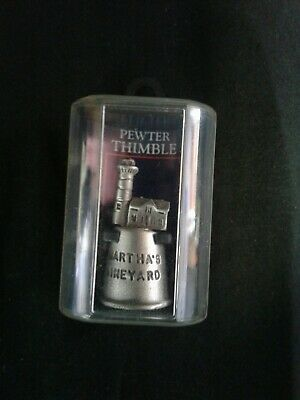 """Martha's Vineyard Pewter Thimble collectible in box souvenir 1.5""""tall lighthouse"""