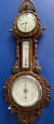 Antique Early 1900's Wall Carved Oak Combination Clock, Barometer & Thermometer