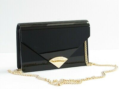 adac13bcef95 MICHAEL KORS CLUTCH Handbag Black Patent Leather Nickel Details NWOT ...