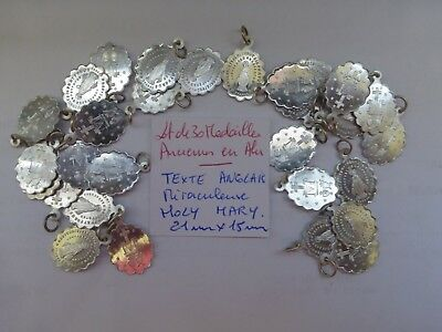 lot de 30 ancienne medaille alu HOLY MARY  Miraculeuse  English text old medals