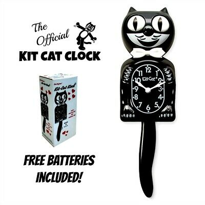 "CLASSIC BLACK KIT CAT CLOCK 15.5"" Free Battery Official MADE IN USA Klock NEW"