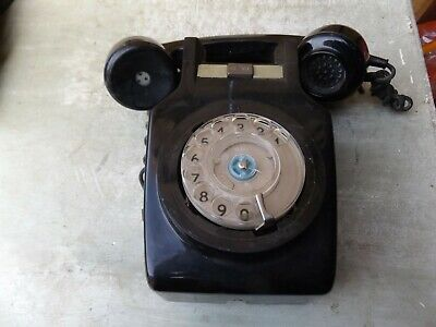vintage old ring dial telephone phone black wall hanging 741 gna 73/1