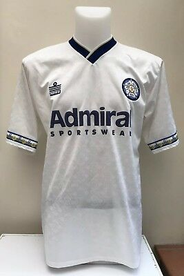 Leeds United Football Shirt Jersey Home 1992 1993 42/44 Admiral Adults White