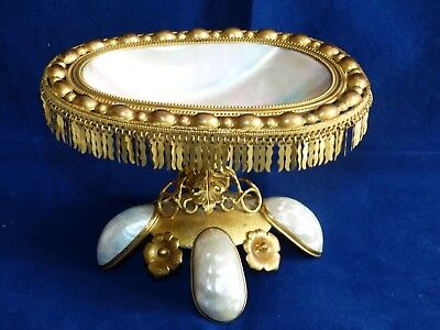 19th Century Antique Palais Royal Mother of Pearl / Ormolu / Gilded Dish / Stand