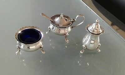 Antique Style Angora Epns Silver Plated 3 Piece Cruet Set With Blue Liners