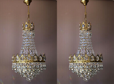 Antique French Lamp Matching Two Chandeliers, Brass Ceiling Lighting Home Living