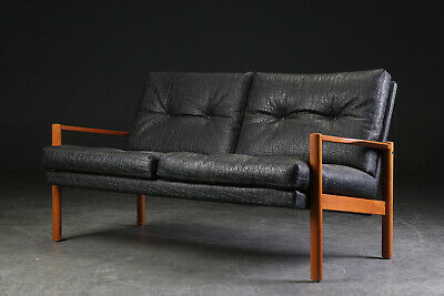 VINTAGE RETRO DANISH BLACK LEATHERETTE AND TEAK 2 SEATER SOFA 1960s