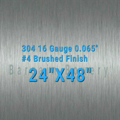 "304 Stainless Steel Sheet #4 Brushed 18 Gauge 0.05"" inch/1.27 mm 24"" x 37"" inch"