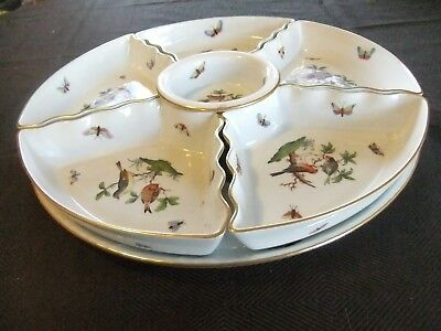 Herend Rothschild Bird Large Hors d'oeuvre Set in Mint Condition 7 Pieces in All