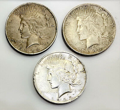 $1 Silver Peace Dollars Lot of Three Coins 1923 1924 1925 90%