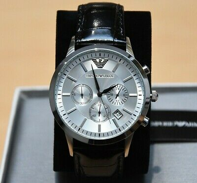 New Genuine Emporio Armani Mens Ar2432 Watch Silver Dial Leather Strap £259 Rrp