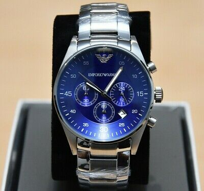 NEW Emporio Armani Stainless Blue Dial Chronograph Mens Watch AR5860 RRP £325