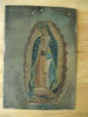 Original Early 1900's  Retablo On Tin With Image Of Lady Of Guadalupe