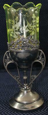 19th Century Antique Silver Plate Celery Holder with Green Uranium Glass