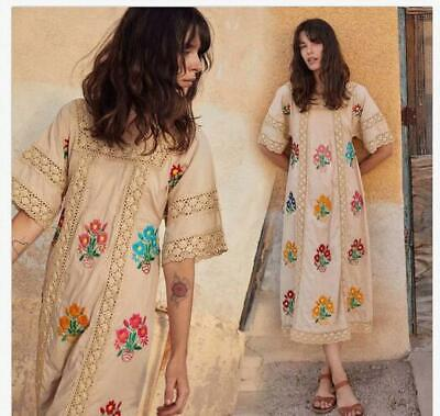 Vintage Womens Summer Short Sleeve Beach Boho Embroidery Floral Dress Holiday 19