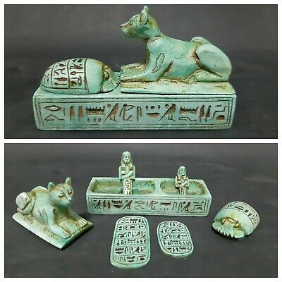 Ancient Egyptian Antiques Box + (Lion And Scarab, Two Talisman Two Ushabti) BC