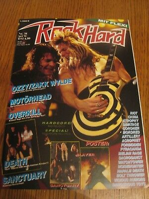 Rock Hard 38/90- Ozzy Osbourne Motörhead Overkill Death Slayer Riot Watchtower!!