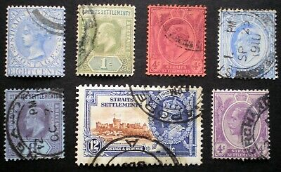 GB British Colonies Straits Settlements 1892 - 1935 small lot of used stamps