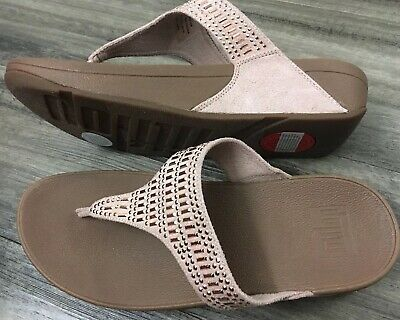 ed664ad0ae59 New! FitFlop Nude Incastone Gold Crystal Jeweled Thong Comfort Sandal 8 39  New