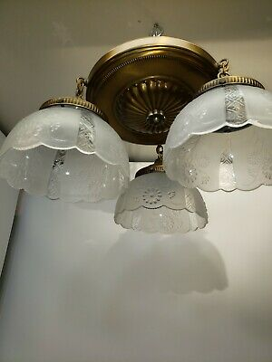 Vintage Pan Light Fixture Art Nouveau Victorian Style Farmhouse Flush Mount