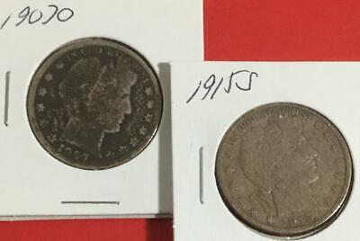 1907O & 1915S US Barber SILVER Halves SEt of 2 Carded Coins!