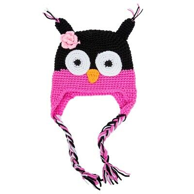 Cute Handmade Newborn Baby Kids Owl Knit Hat Cap Black and Rose Pink V4X4