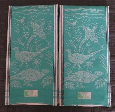 2 vintage Czechoslovakia linen tea towels green white jacquard birds NWT