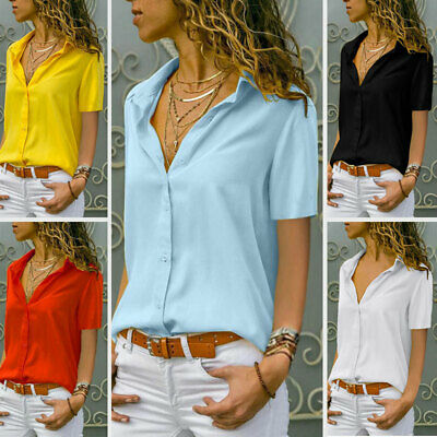 Women Summer Short Sleeve Button Blouse Solid V Neck Tops Casual Plus Size Shirt