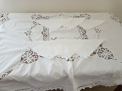 Vintage 80s WHITE Cotton Tape Lace Crochet Shabby Chic TABLECLOTH & 6 NAPKINS