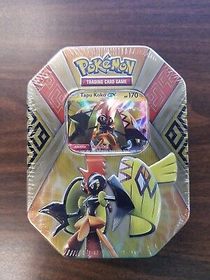 Tapu Koko GX Tin - Pokemon Trading Cards With 4 Booster Packs Factory Sealed NEW