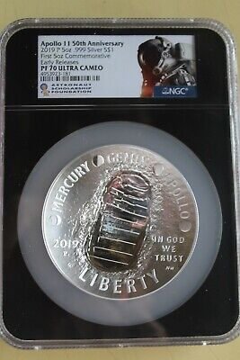 2019 P Apollo 11 50th Anniversary Proof 5 oz Silver Coin NGC PF70 Ultra Cameo
