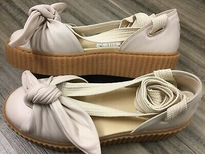 newest collection de702 53f72 FENTY BY RIHANNA Size 7.5 Puma Bow Creepers Flatform Oatmeal Leather Lace Up