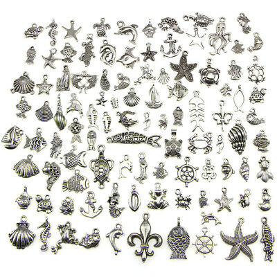 Retro Silver 100pcs Bulk Lots Mix Ocean Charm Pendants Jewelry DIY Hot AU IA