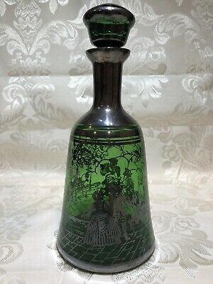 Decanter Murano green, Venetian, Pauly and C. 1960-ies,Silver overlay.Vintage
