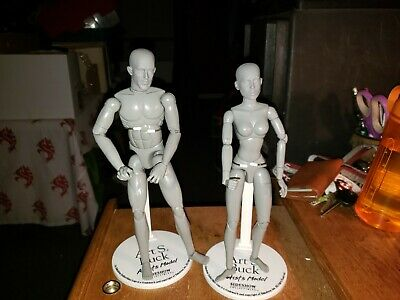 Art S. Buck Artist's Models Grey Male and Female with Stands