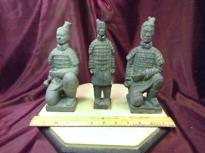"3 Vtg CHINESE Qin Dynasty TERRA-COTTA WARRIOR Figurines-8.25 to 8 7/8""H-FreShip"