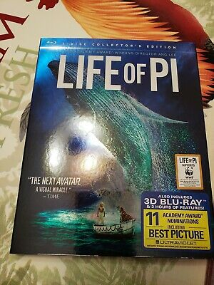 Life of Pi 3D(Blu-ray/DVD,2013,3-Disc Set) Authentic US Release with Slipcover
