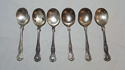 Silver plate vintage Victorian antique set of six Kings pattern cutlery spoons A