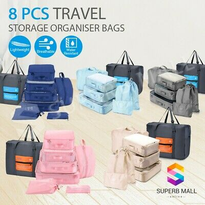8PCS Storage Packing Cubes Pouch Luggage Organizer Travel Suitcase Clothes Bags