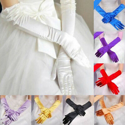 Womens Long Wedding Bridal Opera Evening Party Costume Satin Gloves 13 Colors sm