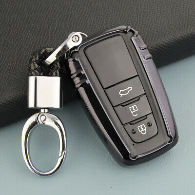Black Sleek New Smart Car Key Case Holder W/ Clasp Fob TPU Protector For Toyota