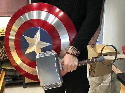 1/1 Metal Alloy Shield & Metal Thor Hammer Set For Captain America Cosplay  NEW