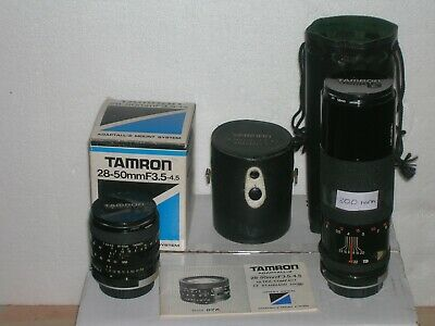 Tamron 28-50mm Zoom lens and Tamron 300mm telephoto lens both for Konica