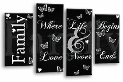 FAMILY QUOTE WALL ART PICTURE BLACK GREY WHITE HOME LOVE SPLIT CANVAS PANEL New